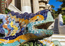 Sculpture of a dragon in Park Guell Royalty Free Stock Photography
