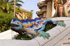Sculpture of a dragon in Park Guell in Barcelona stock photo