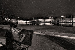 Sculpture of the drawing boy in Veliky Novgorod, sepia processing Stock Photos