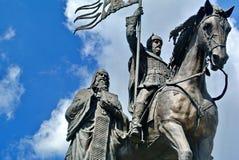 Sculpture du baptiste du prince Vladimir et ` sacré de ` de terre de Fedor closeup Ville Vladimir avec une histoire remarquable images libres de droits