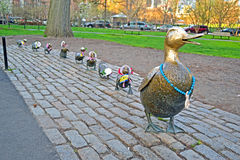 Sculpture of ducks tribute to Robert McCloskeys st Stock Photos