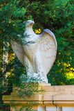Sculpture of eagle among branches of bush. Gypseous sculpture of eagle closeup among branches of Colletia bush in Arboretum, Sochi, Russia Royalty Free Stock Image