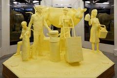 Sculpture en beurre de thème de laiterie Images stock