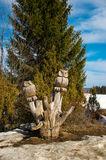 Sculpture en bois d'un hibou Image stock