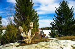 Sculpture en bois d'un hibou Image libre de droits
