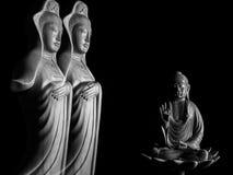 Sculpture en Bouddha et en Guan Yin /Guanshiyin de Bodhisattva/d'Avalokitasvara Image stock