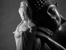 Sculpture en Bouddha et en Guan Yin /Guanshiyin de Bodhisattva/d'Avalokitasvara Photographie stock