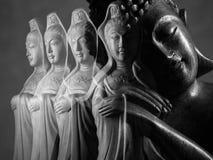 Sculpture en Bouddha et en Guan Yin /Guanshiyin de Bodhisattva/d'Avalokitasvara Image libre de droits