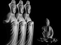 Sculpture en Bouddha et en Guan Yin /Guanshiyin de Bodhisattva/d'Avalokitasvara Photographie stock libre de droits