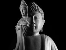 Sculpture en Bouddha et en Guan Yin /Guanshiyin de Bodhisattva/d'Avalokitasvara Photos stock
