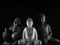 Sculpture en Bouddha et en Ksitigarbha et en Maitreya Images libres de droits