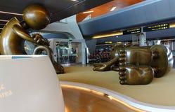 Sculpture en bronze d'aéroport dans Doha Images libres de droits