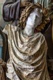 Sculpture en buste de l'homme avec la robe tirée avec les notes musicales, et couronne de laurier illustration stock