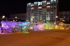 Sculpture en glace d'un dragon Photo libre de droits