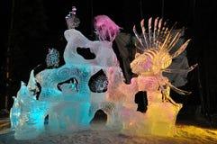 Sculpture en glace de safari d'eau de mer Photos stock