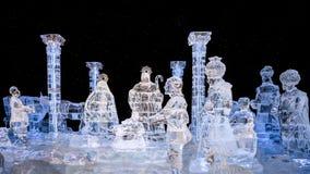 Sculpture en glace de scène de nativité Image stock