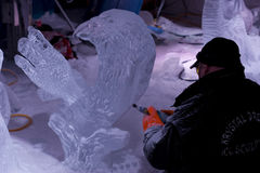 Sculpture en glace pendant le Winterlude Photos libres de droits