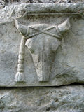 Sculpture en pierre antique en tête de boeuf Photographie stock libre de droits