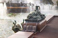 Sculpture en pierre en fontaine de fleur chez VDNKh Photographie stock libre de droits