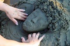 Sculpture en plage Photographie stock libre de droits