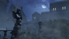 Sculpture en ` s de cupidon en vieux parc brumeux la nuit pluvieux banque de vidéos