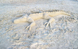 Sculpture en sable d'alligator Image libre de droits