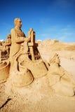 Sculpture en sable d'opérateur de cinéma grande, Portugal Image libre de droits