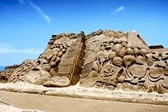 Sculpture en sable de dessin animé Photographie stock