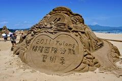 Sculpture en sable de dragon Photo libre de droits