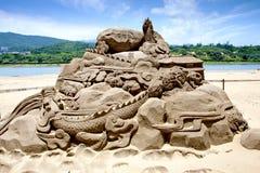 Sculpture en sable de dragon Image stock