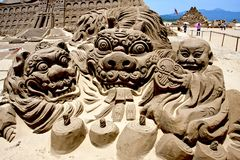 Sculpture en sable de Kirin Images libres de droits
