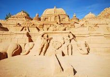 Sculpture en sable de temple d'Induism grande, Algarve, Portugal Images stock
