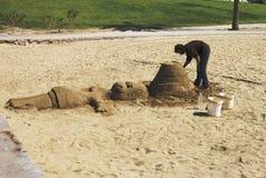 Sculpture en sable sur la plage de Barceloneta. Espagne Photo libre de droits