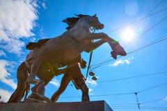 Sculpture en tamers de cheval dans le St Petersbourg Image stock