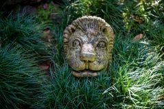 Sculpture en visage de lion dans le jardin touristique de Monte de Funchal Images libres de droits