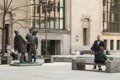 Sculpture 'The Encounter' Commerce Court Court Stock Image