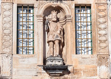 Sculpture on the entrance to Coimbra University Stock Photo