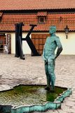 Sculpture at the entrance to the Franz Kafka Museum. Stock Image