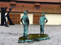 Sculpture at the entrance to the Franz Kafka Museum. Stock Photography
