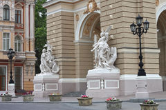 Sculpture at the entrance to Odessa Opera House. Stock Image