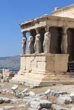 Sculpture of Erechtheum ancient Greek temple Stock Images