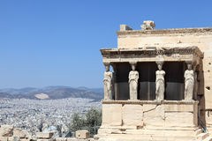 Sculpture of Erechtheum greek temple Stock Photography
