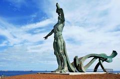 Sculpture Exordio del氚核在蓬塔del Palo在拉斯帕尔马斯de 库存照片