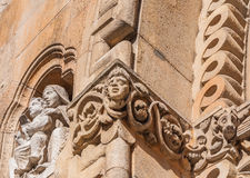 Sculpture on the facade of the Church of Jak is a functioning Catholic chapel in Budapest. Sculpture on the facade of the Church of Jak is a functioning Catholic Stock Photo