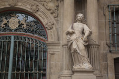 Sculpture on Facade of Pamplona City Hall, Navarra Royalty Free Stock Photo