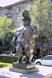 Sculpture of the famous Colombian sculptor Fernando Botero The Roman gladiator. Stock Photography