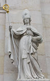 Sculpture of famous Salzburg Cathedral at Domplatz, Austria. stock image