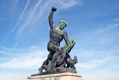 Sculpture fighter dragons on Gellert Hill in Budapest. BUDAPEST, HUNGARY - SEPTEMBER 28, 2016: Sculpture fighter dragons, detail Monument to Freedom on Gellert royalty free stock photo