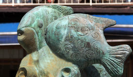 Sculpture of fishes in street of Istanbul, Turkey Royalty Free Stock Photos