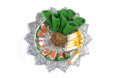 Sculpture food in  tray for sacrifice Royalty Free Stock Photos